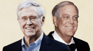 Charles (left) and the late David Koch