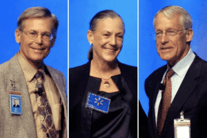 From left: Jim Walton, Alice Walton, Rob Walton