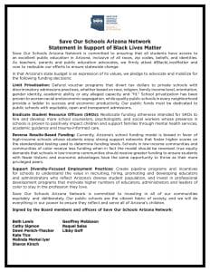 Read the Save Our Schools Arizona Network Statement in support of Black Lives Matter.